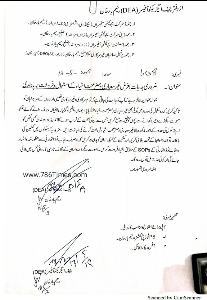Instructions Regarding Sub Standard sale on School Tuck Shops